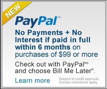 New Financing through PayPal Bill Me Later